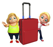Kid girl and kid boy with Travel bag Stock Images