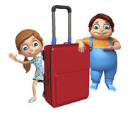 Kid girl and kid boy with Travel bag Royalty Free Stock Photo