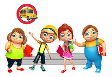 Kid girl and kid boy with waiting for school bus Stock Photography