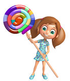 Kid girl with lollipop Stock Images