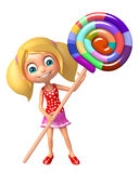 Kid girl with lollipop Royalty Free Stock Images