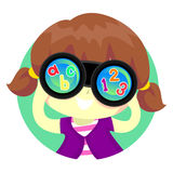 Kid Girl looking at Binocular with ABC Royalty Free Stock Images