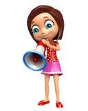 Kid girl with Loud speaker Royalty Free Stock Image
