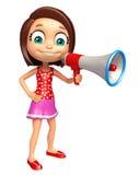 Kid girl with Loud speaker Stock Image