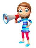 Kid girl with Loud speaker Stock Photos