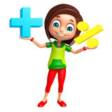 Kid girl with Math sign Royalty Free Stock Photo