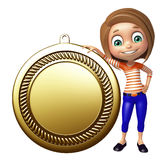 Kid girl with  Medal Royalty Free Stock Images