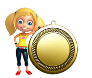 Kid girl with  Medal Stock Photo