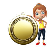 Kid girl with  Medal Royalty Free Stock Photography