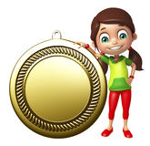 Kid girl with  Medal Stock Images