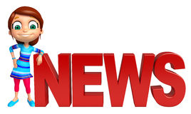Kid girl with News sign Royalty Free Stock Image