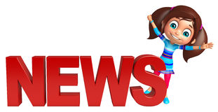 Kid girl with News sign Royalty Free Stock Photography