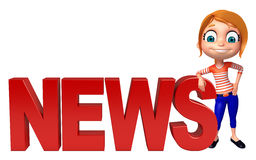 Kid girl with News sign Stock Image
