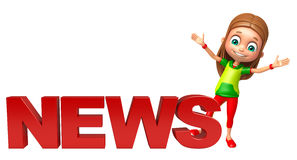 Kid girl with News sign Stock Photo