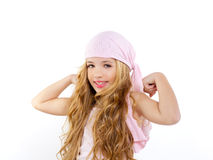 Kid girl with pirate handkerchief Stock Images