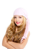Kid girl with pirate handkerchief Royalty Free Stock Images