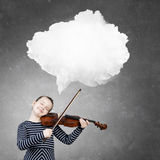 Kid girl play violin Royalty Free Stock Images