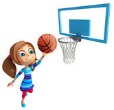 Kid girl with Playing Basket ball. 3d rendered illustration of Kid girl with Playing Basket ball Stock Images