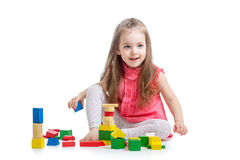 Kid girl playing with block toys Royalty Free Stock Images