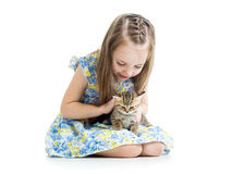 Kid girl playing with cat kitten Stock Photography
