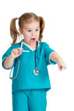 Kid girl playing doctor isolated Stock Image