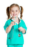 Kid girl playing doctor with syringe isolated on white. Background royalty free stock photos