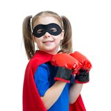 Kid girl plays superhero Stock Photo