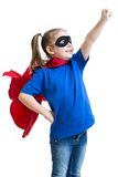 Kid girl plays superhero Royalty Free Stock Photos