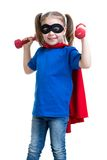 Kid girl plays superhero Royalty Free Stock Image