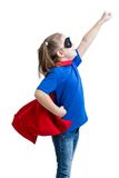 Kid girl plays superhero Royalty Free Stock Photography
