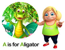Kid girl pointing Alligator Royalty Free Stock Photography