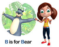 Kid girl pointing Bear Stock Images