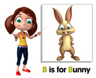 Kid girl pointing Bunny Stock Photos