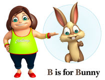 Kid girl pointing Bunny Stock Photography