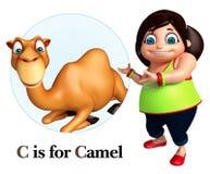 Kid girl pointing Camel Royalty Free Stock Photos