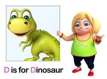 Kid girl pointing Dinosaur Stock Photo