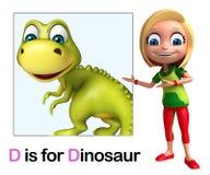 Kid girl pointing Dinosaur Royalty Free Stock Photos