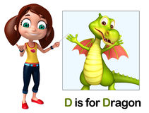 Kid girl pointing Dragon Royalty Free Stock Photo
