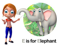 Kid girl pointing Elephant Royalty Free Stock Photography
