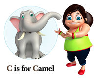 Kid girl pointing Elephant Royalty Free Stock Images
