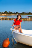 Kid girl pretending to be sailor in boat bow at Formentera Stock Photography