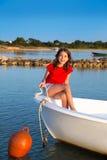 Kid girl pretending to be sailor in boat bow at Formentera. Kid girl pretending to be a sailor in boat bow at Formentera Balearic Islands Stock Photography