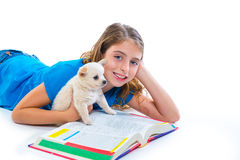 Kid girl with puppy chihuahua pet dog at homework Royalty Free Stock Images