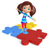 Kid girl with Puzzel Royalty Free Stock Photo