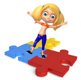 Kid girl with  Puzzel Stock Photography