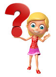Kid girl with Question mark sign. 3d rendered illustration of kid girl with Question mark sign Royalty Free Stock Photography