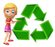 Kid girl with Recycle Stock Photo