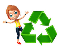 Kid girl with Recycle Royalty Free Stock Photos