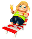 Kid girl with Relaxing on  Beach chair Stock Image