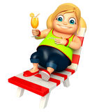 Kid girl with Relaxing on  Beach chair Stock Photos